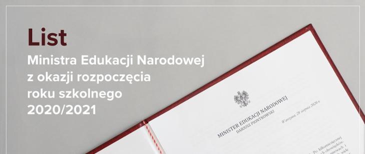 List Ministra Edukacji Narodowej z okazji rozpoczęcia roku szkolnego 2020/21