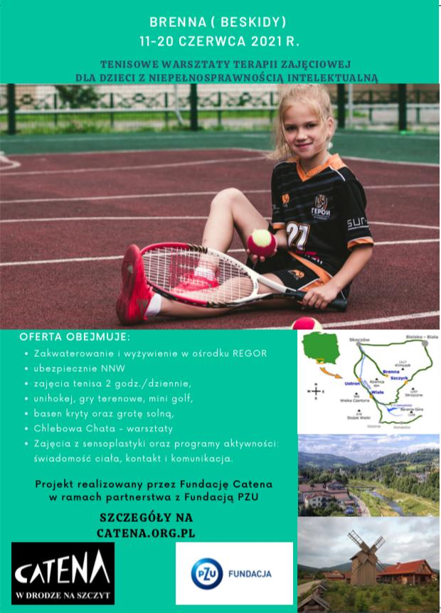 Tenisowe warsztaty terapii zajęciowej dla dzieci z niepełnosprawnością intelektualną Brenna 2021